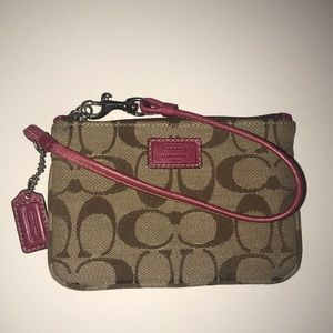 COACH Tan Canvas Wristlet with Pink Accents